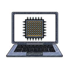 Microchip in laptop scribble