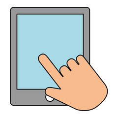 hand using tablet electronic