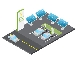 Isometric electric vehicle charging station with solar power concept, isolated vector