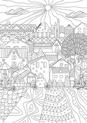 cute cityscape for your coloring book