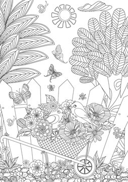 rustic landscape with cute birds in flowers for your coloring bo