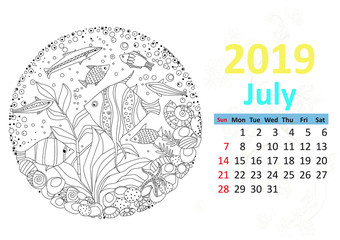 Happy coloring page. Calendar for 2019, july