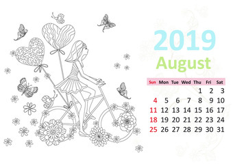 Happy coloring page. Calendar for 2019, august
