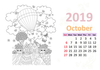 Happy coloring page. Calendar for 2019, october