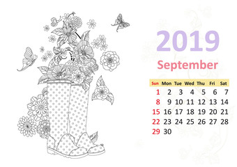 Happy coloring page. Calendar for 2019, september