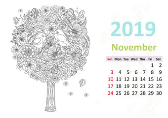 Happy coloring page. Calendar for 2019, november