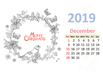 Happy coloring page. Calendar for 2019, december