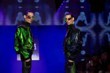 Twin models present creations from the The Blonds Spring/Summer 2019 collection during New York Fashion Week