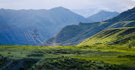 Overhead power line in the mountains