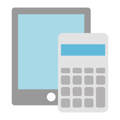 calculator math with tablet