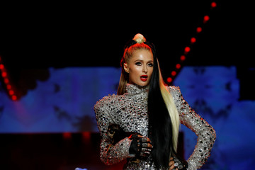 Paris Hilton presents a creation from The Blonds Spring/Summer 2019 collection during New York Fashion Week