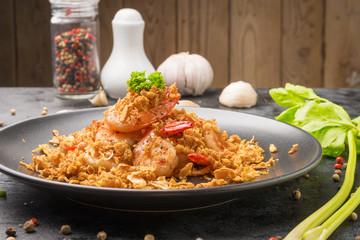 Fried shrimp with garlic, pepper