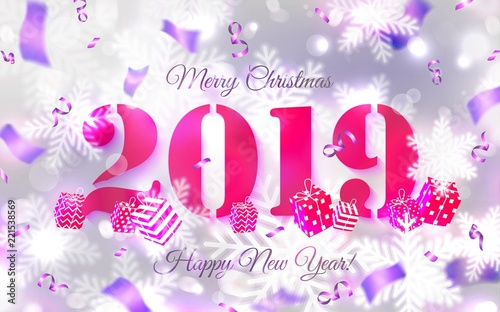 2019 abstract merry christmas and happy new year background