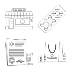 Isolated object of pharmacy and hospital sign. Collection of pharmacy and business vector icon for stock.