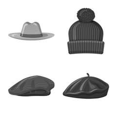 Vector design of headwear and cap sign. Collection of headwear and accessory vector icon for stock.