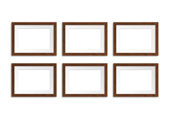 Six brown wooden photo frames collage