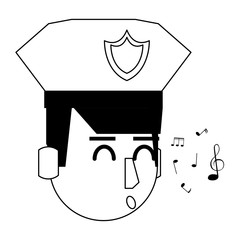 Police face cartoon in black and white