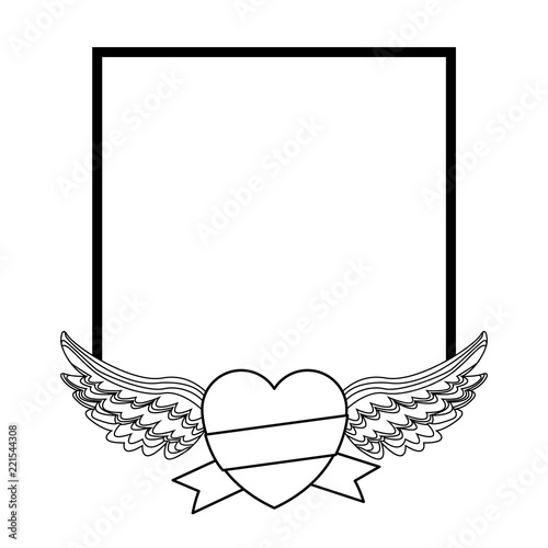 Frame and heart with wings in black and white\