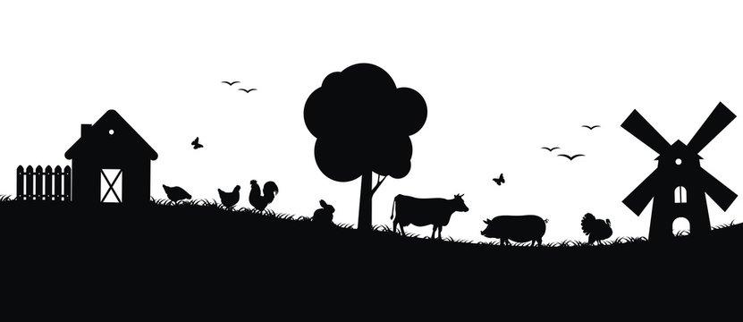 Силуэты животных на ферме