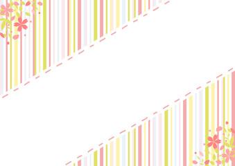 桜 刺繍フレーム ストライプ背景