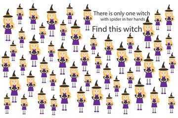 Find witch with spider, halloween fun education puzzle game for children, preschool worksheet activity for kids, task for the development of logical thinking and mind, vector illustration