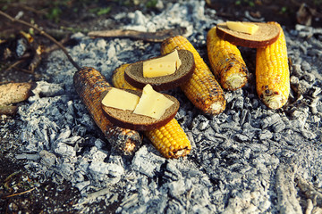 corn is baked or roasted on charcoal