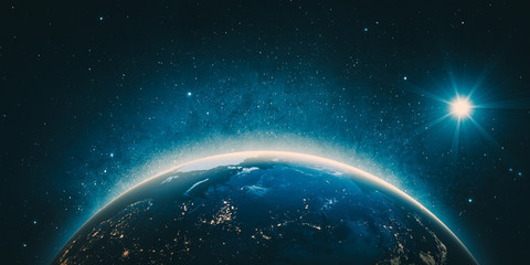 Wall Mural - Russia city lights. Elements of this image furnished by NASA