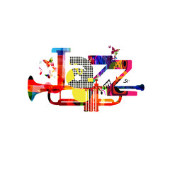 Jazz music typographic colorful background with trumpet vector illustration. Artistic music festival poster, live concert, creative banner design. Word jazz