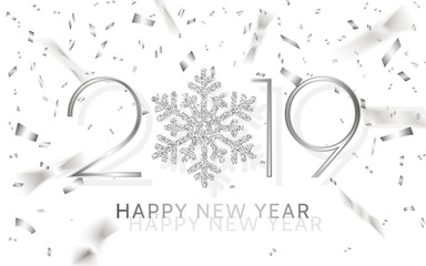 Happy New Year 2019. Silver numbers with ribbons and confetti on a white background. Vector illustration