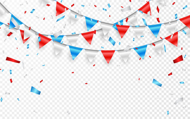 Garlands of red white blue flags. Blue, white and red foil confetti. Vector illustration