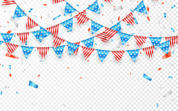 Hanging Bunting Flags for American Holidays. Blue, white and red foil confetti. Vector illustration