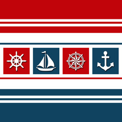 Nautical themed design with nautical symbols - sailing wheel, sailing boat, anchor, compass - decoration on white, red and navy blue striped background