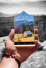 Landscape on a phone screen