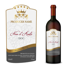 Wine Label with bottle Five Stars