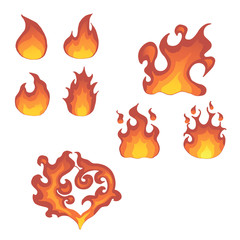 Vector flame isolated. Different shapes of fire. Illustration.