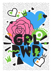 GRL PWR short quote. Girl Power cute hand drawing illustration
