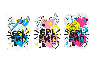 Typography colorful slogan Girl Power text, decoration