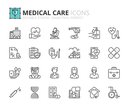 Outline icons about hospital and medical care