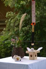 displaying TSUKIMI event / お月見の準備(祭壇・飾り付け)- 斜めアングル