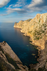 Viewpoint to Cape Formentor in Mallorca at sunset