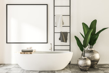 Square mock up poster in luxury spa bathroom