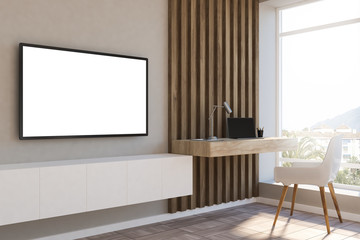White and wood loft home office, mockup tv