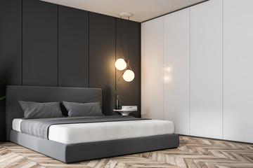 Gray bedroom corner, double bed