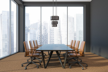 Panoramic meeting room interior, city view
