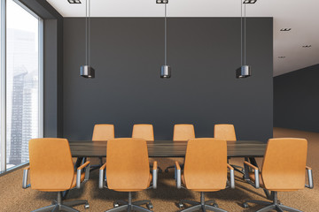 Gray modern office meeting room interior