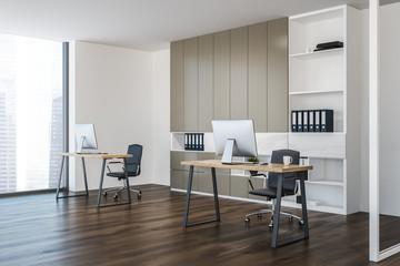 Loft modern office corner, computer desks