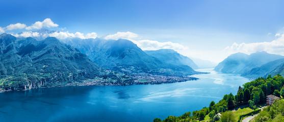 Beautiful view of scenic Como lake panorama, Lombardy, Italy