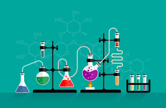 Chemistry lab and science equipment. Chemical experiment and glass flasks with solution in research laboratory.  Concepts for web banner and promotional material. Illustration in flat style.