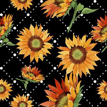 Watercolor orange sunflower flower. Floral botanical flower. Seamless background pattern. Fabric wallpaper print texture. Aquarelle wildflower for background, texture, wrapper pattern, border.
