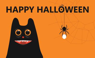 Happy Halloween - vector background invitation